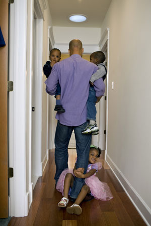 Father with 3 children